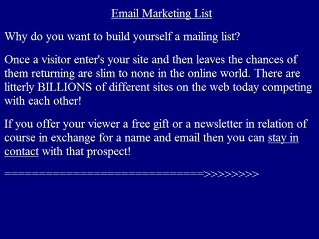 Email Marketing List