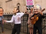 Dancing protester mocks Jeremy Hunt