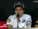 Checo talking at the Canadian Grand Prix press conference