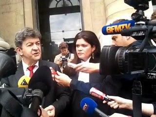 Jean-Luc Mélenchon accompagné de son avocat Me Raquel Garrido devant le Palais de Justice de Paris (21.06.2012) Partie 1