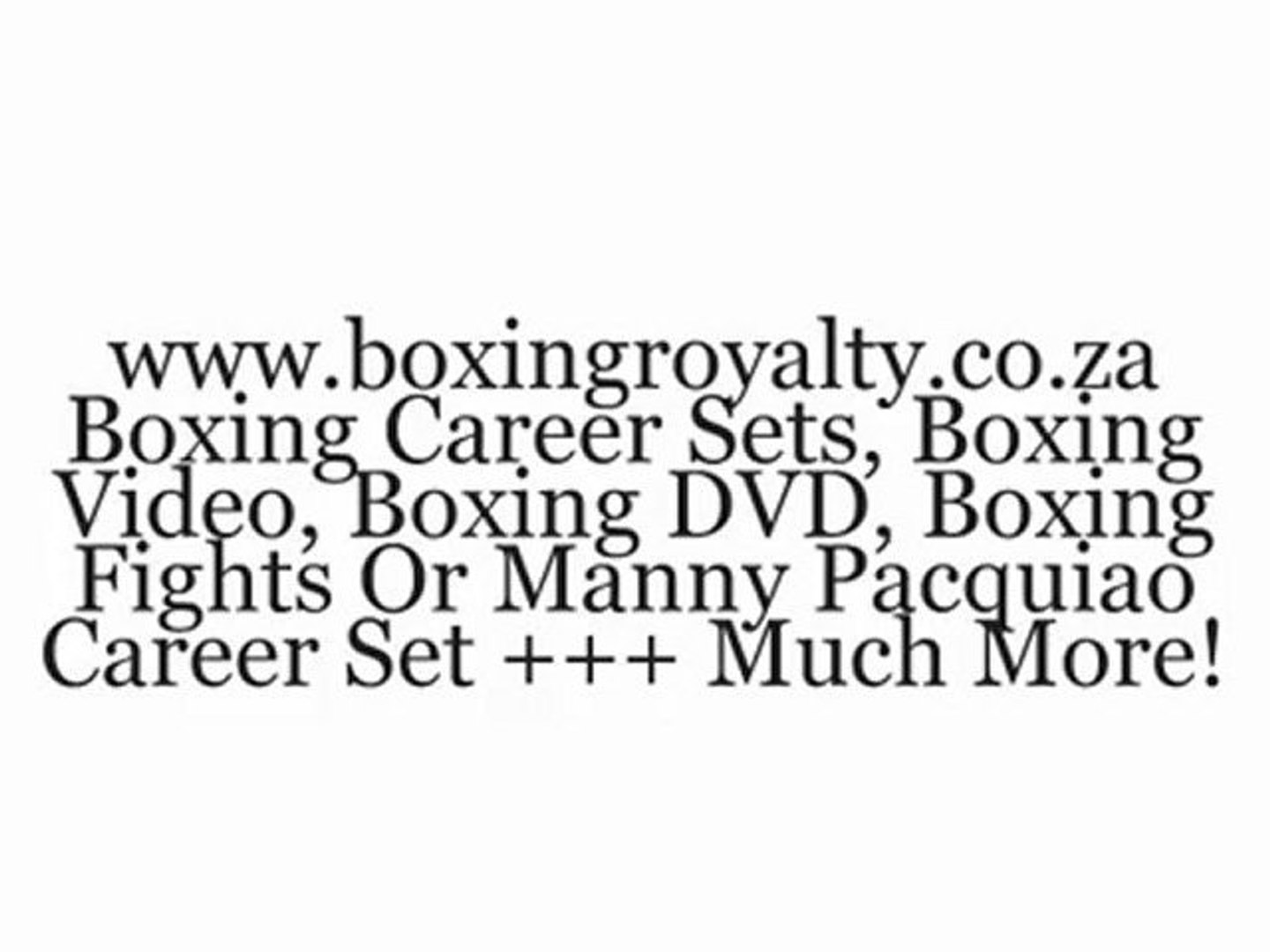 Leading Boxing Website For Boxing Enthusiasts & Collectors. Best Boxing DVDs Online
