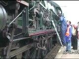 Arrivée en gare de Bourg en Bresse, de la prestigieuse locomotive à Vapeur 241P17