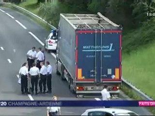 Reims : 2 motards de la police percutés par un camion