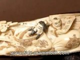 """Mammoth Ivory Handcrafted """"Chinese Old Man With Happy Kids"""" Whole Tusk Carving 37491"""