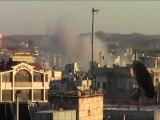 Syria فري برس  درعا الدخان المتصاعد من المخيم نتيجة القصف 26 8 2012