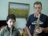 """Klarnet ve Saksofon """"LALE DEVRİ İçin birlikte düet yaptılar. Si bemol Klarnet ve Tenör Mi Bemol Sax SAXO SAKSOFON CLARNET Küçük Çocuk  Saxophone Saxophon Saxophono transpoze alet Saksafonist  Konser en güzel Tenor alto soprano Çok geç canım Küçük Çocuk HD"""