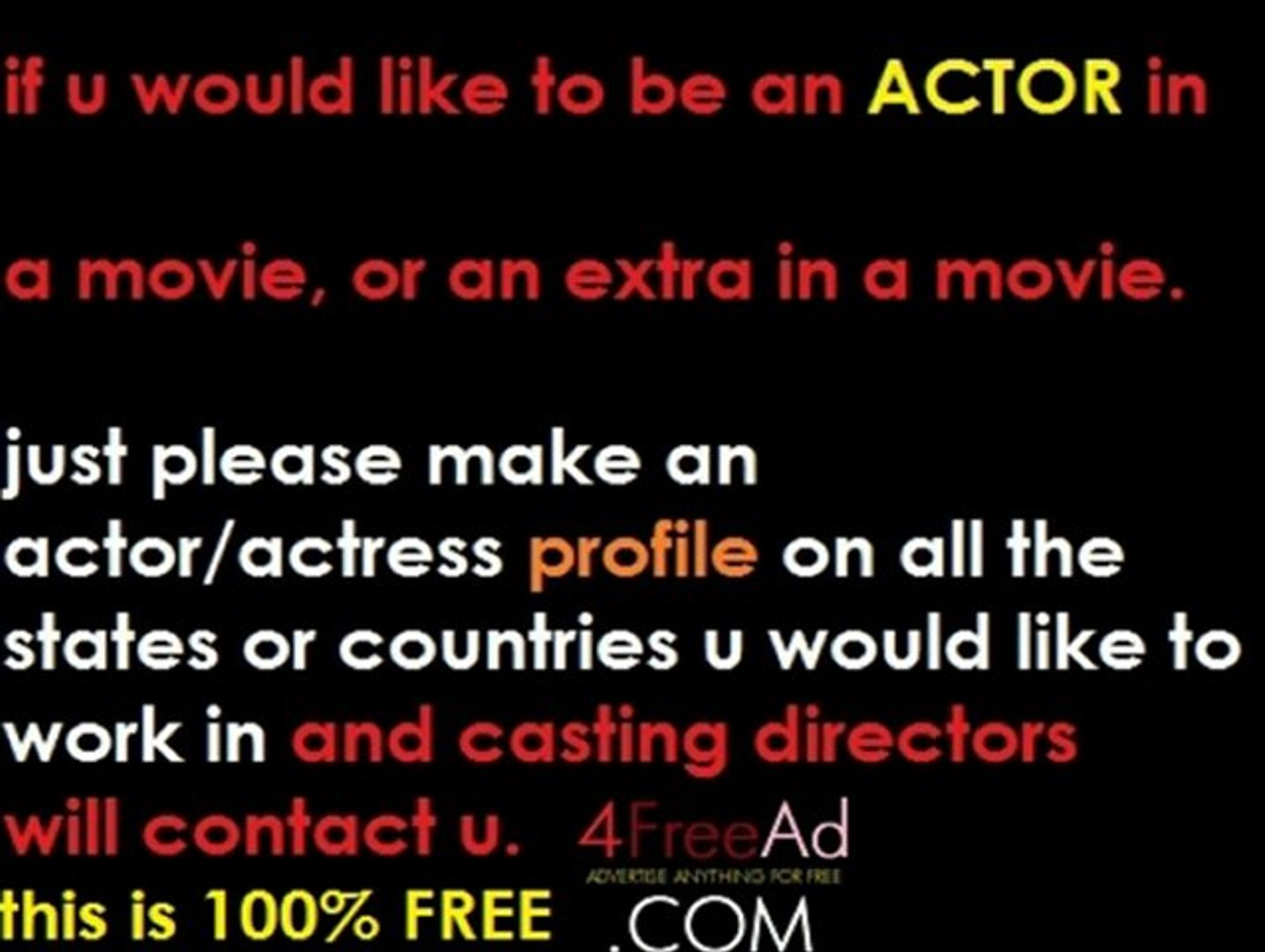 post free casting notices, advertise movie auditions for free, post a movie audition, casting call,