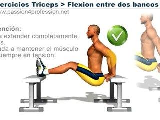Ejercicios triceps : flexion 2 bancos