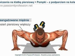 Ćwiczenia na klatkę piersiową : Pompki - z podparciem na kolanach