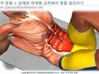 복근운동 : 상체와 하체를 교차하며 윗몸 일으키기