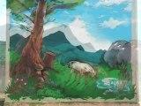 La quatrième fresque de l'Aubradou, festival d'art contemporain 2012, Saint-Florent-sur-Auzonnet