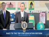 Obama necesita teleprompter para un discurso en un colegio