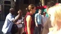 le prédicateur évangéliste  en action rue Neuve à  Bruxelles