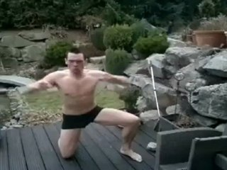 Hilarious fail as man jumps into frozen swimming pool