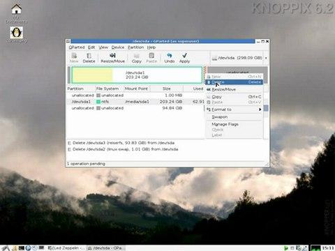 Dualboot Windows/Knoppix supprimer partition Linux