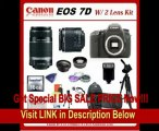 Canon EOS 7D DSLR Camera with SSE Platinum Kit: Includes - Canon EF-S 18-55mm f/3.5-5.6 IS II Autofocus Lens & Canon EF-S 55-250mm f/4-5.6 IS Autofocus Lens, Also Includes 0.45x Hi Def Wide Angle Lens & HD 2x Telephoto Lens, 16GB SDHC Card & Card Rea