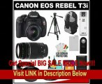 Canon EOS Rebel T3i Digital SLR Camera Body & EF-S 18-55mm IS II Lens with 75-300mm Lens + 16GB Card + .45x Wide Angle & 2x Telephoto Lenses + Tripod + Case + Battery + Remote + (2) Filters + Accessory Kit
