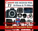 Canon EOS Rebel T3 (1100d) SLR Digital Camera w/ Canon EF-S 18-55mm f/3.5-5.6 IS II Autofocus Lens & Canon Zoom Telephoto EF 75-300mm f/4.0-5.6 III Autofocus Lens, 3 Extra Lens + Close Up Kit, 2 batteries and chargers 32gb Sdhc Memory Card, Soft Carr