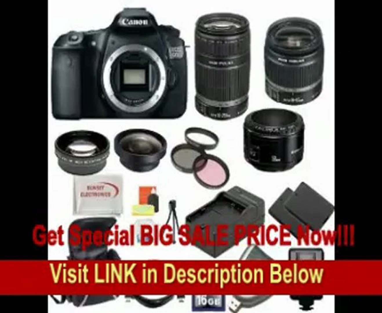 Canon EOS 60D DSLR Camera with 3 Canon Lens n Lens Pro Pack: Includes - Canon EF-S 18-55mm f3.5-5.6