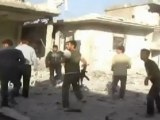 Syria amateur video: Bomb explodes just metres from camera