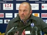 Conférence de presse FC Sochaux-Montbéliard - Evian TG FC : Eric HELY (FCSM) - Pascal DUPRAZ (ETG) - saison 2012/2013