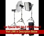 SPECIAL DISCOUNT Interfit INT468 Stellar XD 600 Watt/ Second 3 Head kit with Umbrella, Softbox and Barn Door Kit