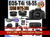 [BEST BUY] Canon EOS Rebel T4i 18.0 MP CMOS Digital SLR with 18-55mm EF-S IS II Lens & Canon 75-300 Lens + 58mm 2x Telephoto lens + 58mm Wide Angle Lens (4 Lens Kit!!!!!!) W/32GB SDHC Memory+ 2 Extra Batteries +