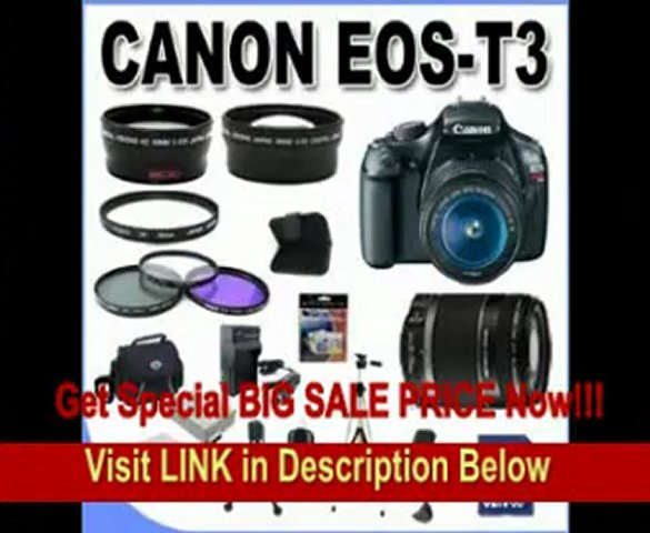 [BEST BUY] Canon EOS Rebel T3 12.2 MP CMOS Digital SLR with Canon 18-55mm IS II Lens and Canon 55-250 IS Lens (Black) +58mm 2x Telephoto lens + 58mm Wide Angle Lens (4 Lens Kit!!!) W/32GB SDHC Memory +2 Extra Ba