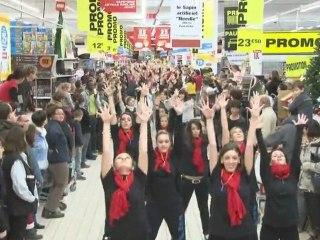 flashmob Auchan Cognac