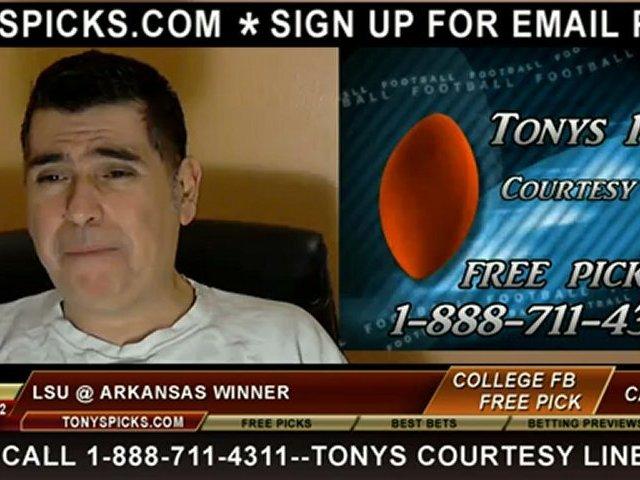 LSU Tigers versus Arkansas Razorbacks Pick Prediction NCAA College Football Pointspread 11-23-2012