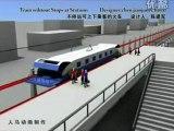 TGV Chinois - Descente et Montée des voyageurs sans arrêt . Train du futur