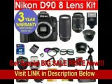 [SPECIAL DISCOUNT] Nikon D90 12.3 MP Digital SLR Camera with 8 Lens Deluxe Camera Outfit # Nikon 18-55 VR Lens # Nikon 70-300 G Lens + 42X Super Wide Angle Fisheye Lens + 2X Telephoto Lens (doubles the power of your len