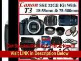 [BEST PRICE] Canon EOS Rebel T3 (1100d) SLR Digital Camera w/ Canon EF-S 18-55mm f/3.5-5.6 IS II Autofocus Lens & Canon Zoom Telephoto EF 75-300mm f/4.0-5.6 III Autofocus Lens, 3 Extra Lens + Close Up Kit, 2 batte