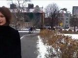 Traversée du campus enneigé