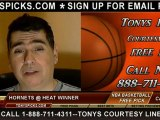 Miami Heat versus New Orleans Hornets Pick Prediction NBA Pro Basketball Odds Preview 12-8-2012