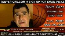 Houston Rockets versus San Antonio Spurs versus Pick Prediction NBA Pro Basketball Preview 12-10-2012