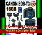 Canon EOS Rebel T3 12.2 MP CMOS Digital SLR with 18-55mm IS II Lens (Black) + Canon EF 75-300mm f/4-5.6 III Telephoto Zoom Lens + 58mm 2x Telephoto lens + 58mm Wide Angle Lens (4 Lens Kit!!!) W/16GB SDHC Memory + Extra LPE10 Battery/Charger + 3 Piece Filt