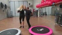 Monya fitness Giwa sequenza addominali crunch sul trampolino elastico e latin dance