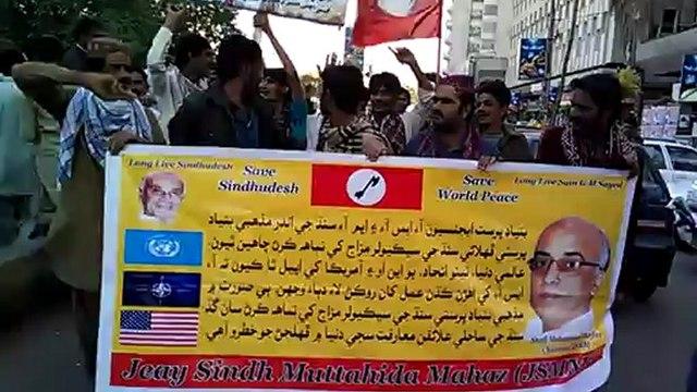Jiye Sindh Muttahida Mahaz (JSMM) protest in-front of Karachi Press club...