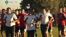 Séance de décrassage des joueurs marocains