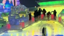 World's largest ice city bursts into colour in China