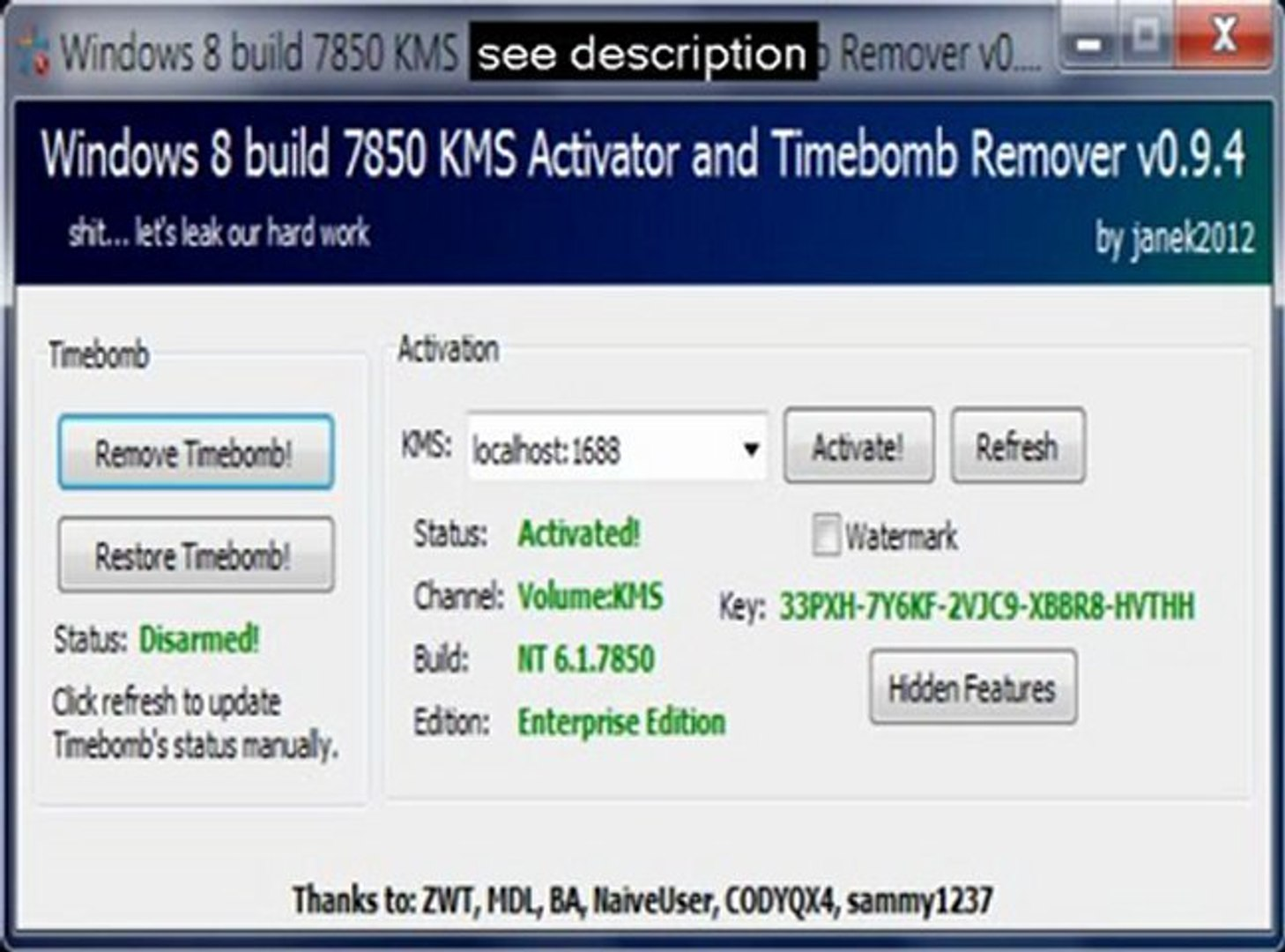 windows 8 build 8400 kms activator and timebomb remover