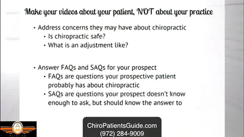 Chiropractic Marketing – Chiropractic Video Marketing Secret