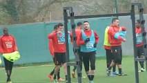 09/01/13 : petit pause lors de l'entraînement du Stade Rennais FC