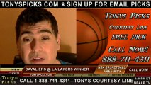 LA Lakers versus Cleveland Cavaliers Pick Prediction NBA Pro Basketball Betting Odds Preview 1-13-2013