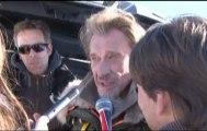 Johnny Hallyday en tournage à Praz sur Arly avec Claude Lelouch