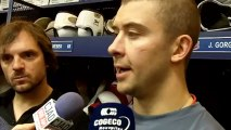 Josh Gorges talks to reporters after first day of training camp January 13, 2013