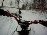 Dirt bike - neige - et gamelle de Tibo ! lol
