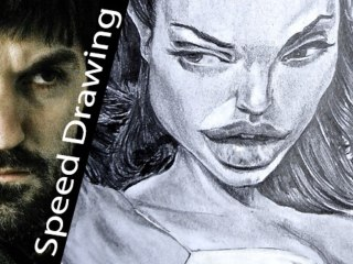 Angelina Jolie CARICATURE! Speed Drawing Italia