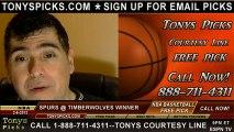 San Antonio Spurs versus Minnesota Timberwolves Pick Prediction NBA Pro Basketball Odds Preview 2-6-2013